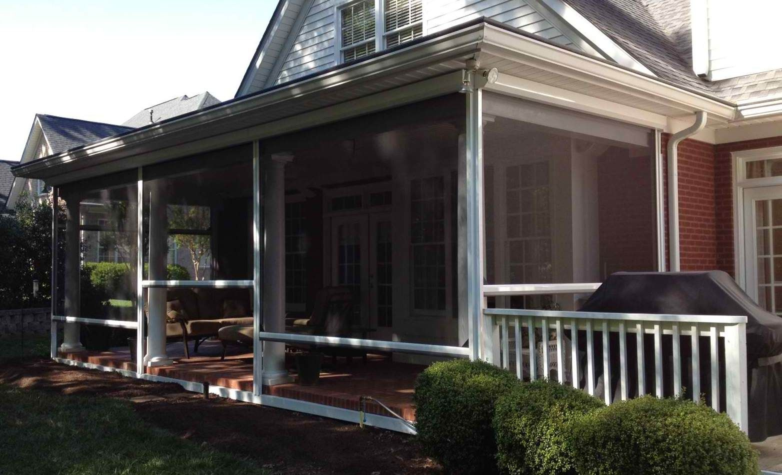 Motorized retractable screened porch screened porch