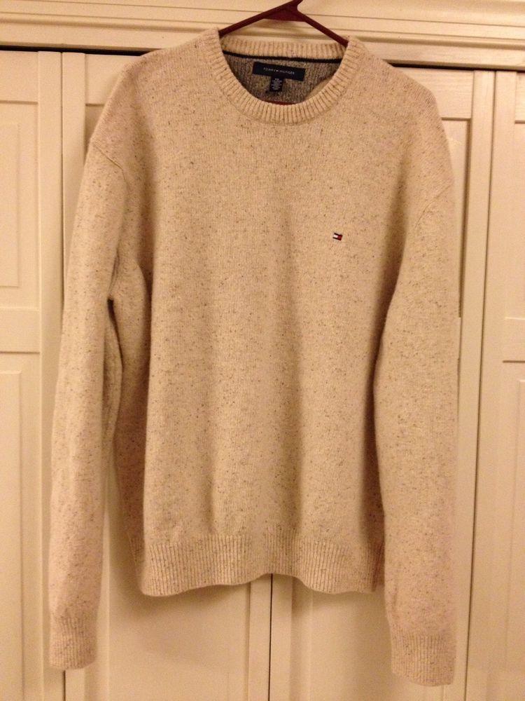 TOMMY HILFIGER Men's Sweater Soft Lambswool Blend XXL 2XL Beige #TommyHilfiger #Crewneck