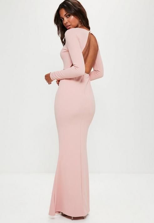 c8b3f078a312 Pink Long Sleeve Open Back Maxi Dress #Missguided #pinkweddingdress ...