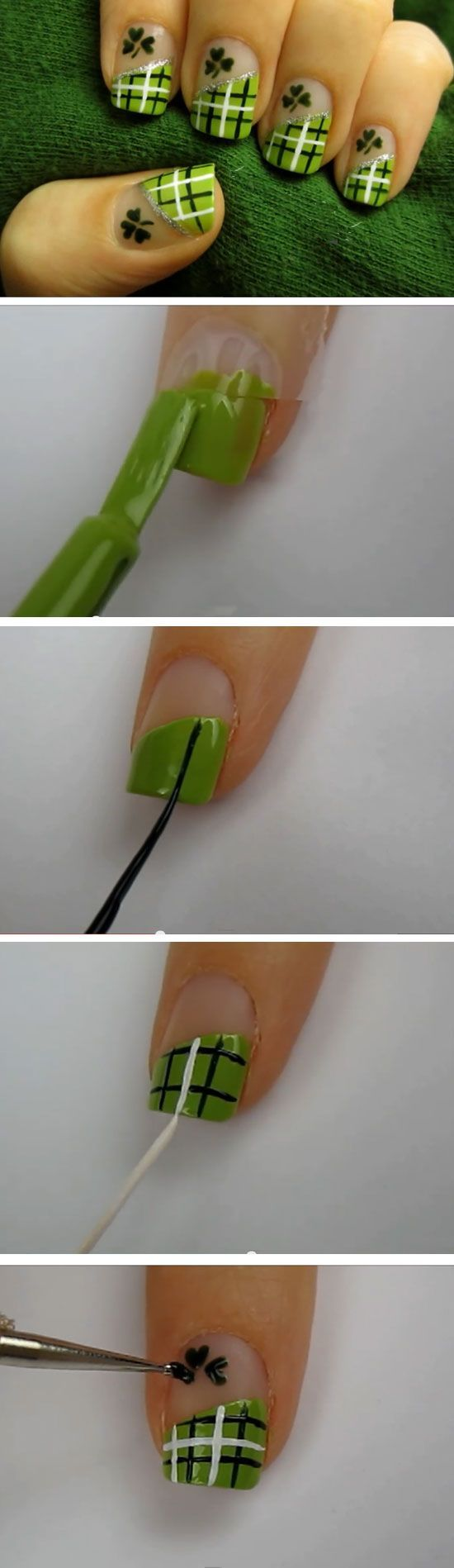 Nails - Lucky Green Plaid | Click Pic for 19 Easy St Patricks Day ...