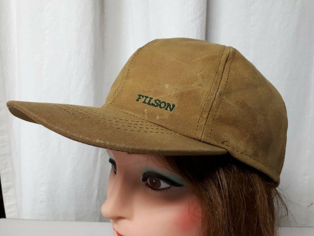 d419c41e7 Filson Waxed Hat Oiled Baseball Cap Hunting Size 7 3/8 Earmuff ...