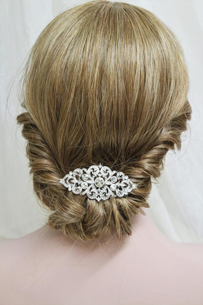 Art Deco Wedding Hair Clip Vintage Style Bridal Hair Comb Etsy In 2020 Wedding Hair Clips Wedding Hair Pieces Bridal Hair Comb Crystal