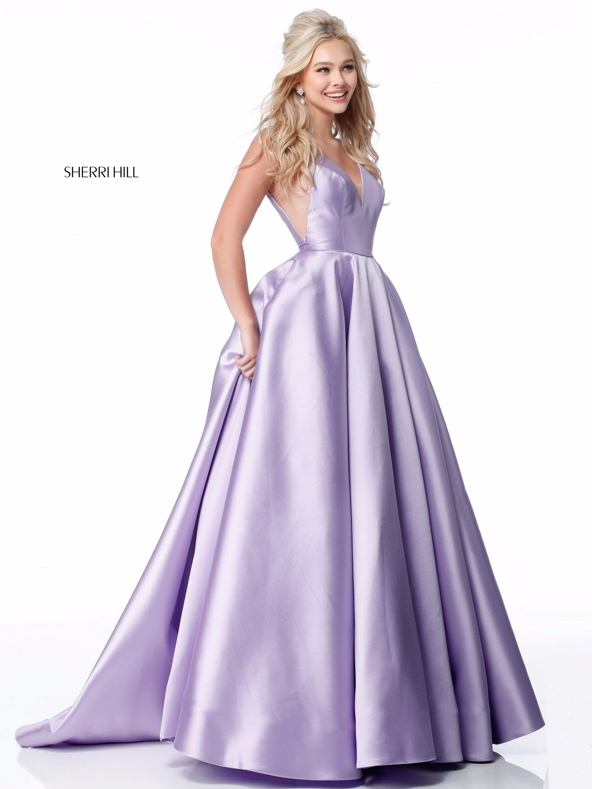 619b8581a74 Sherri Hill 51856 Classic V-Neck Satin Ball Gown in 2019