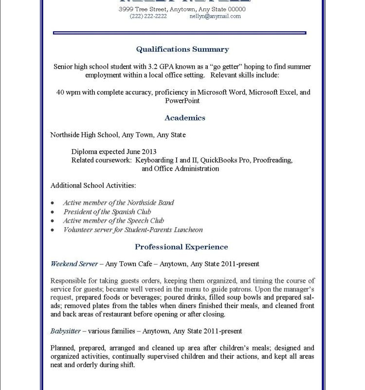Teen Resume Examples Part Time Job Resume Examples Example Of A Job