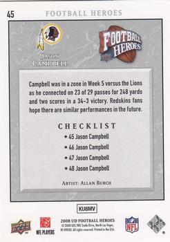 2008 Upper Deck Heroes #45 Jason Campbell Back