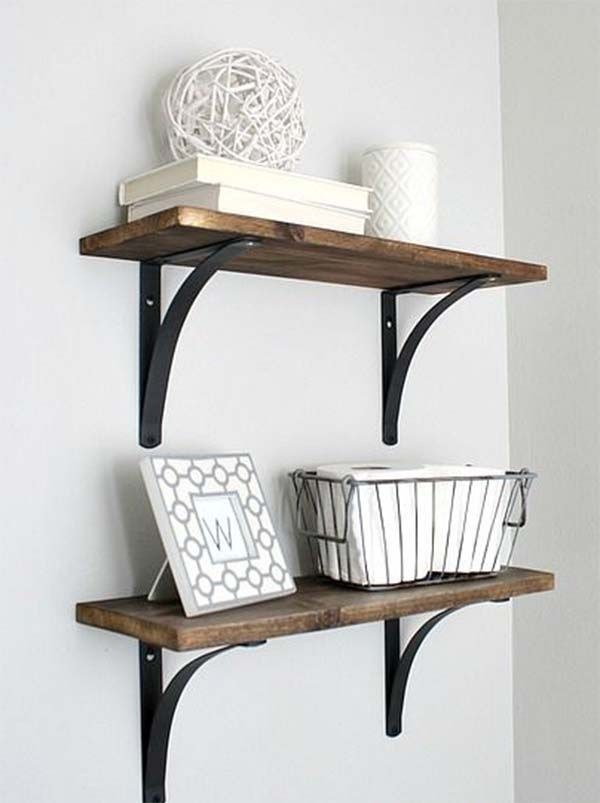Bathroom:Wall Mounted Shelves Wooden Shelves Minimalist Shelves ...