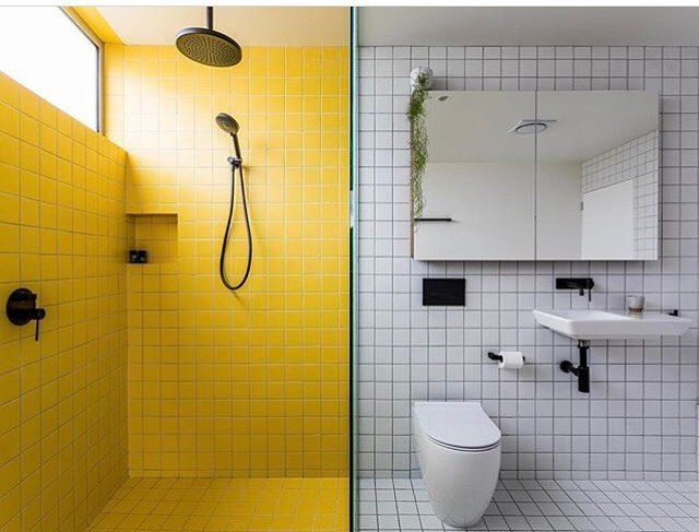 Yellow and White contrast wall and floor tiling. White in wall ...