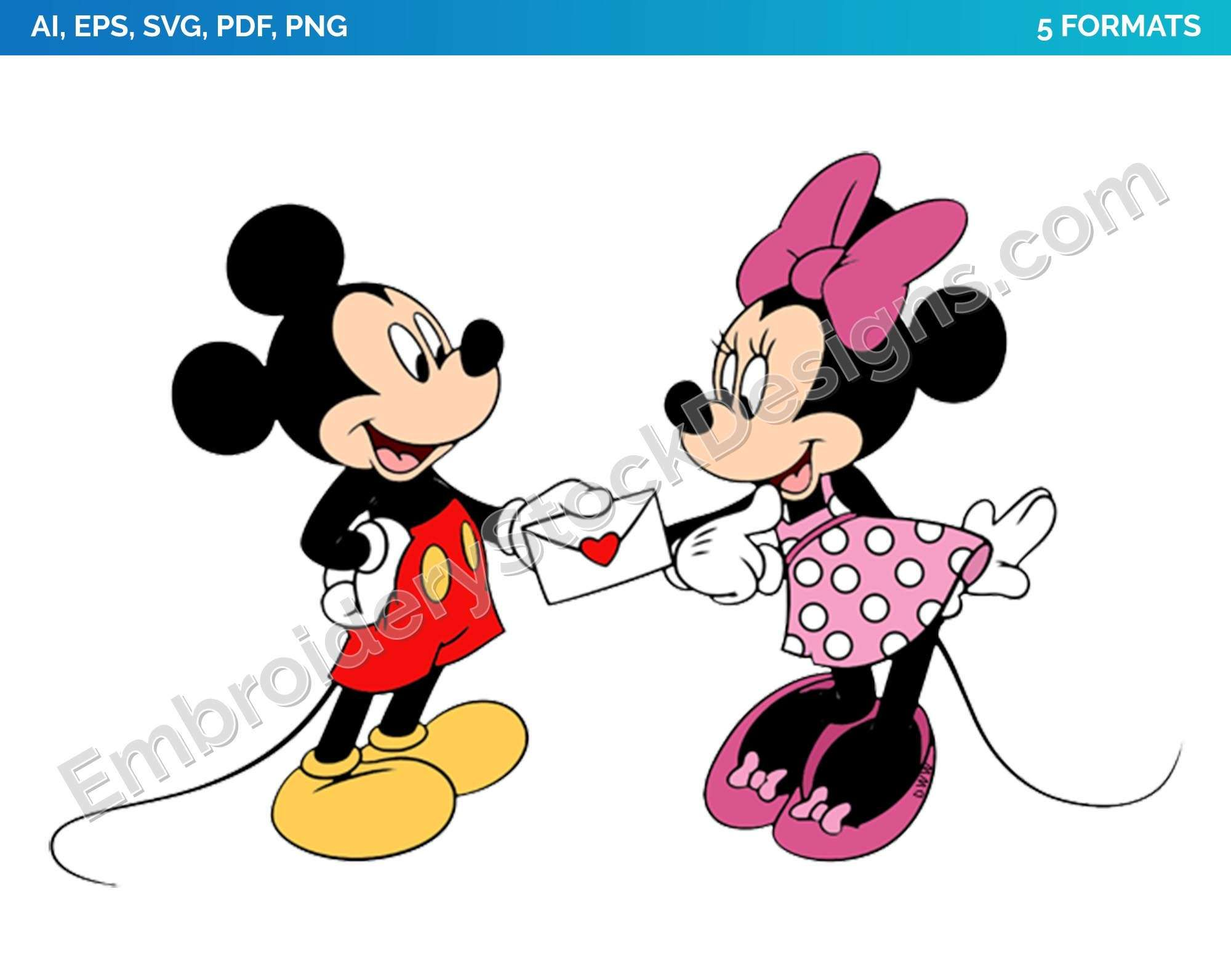 Mickey Minnie Valentine Card Valentine S Day Holiday Disney Character Designs As Svg Vector For Print In 5 Formats Dsnyh000658 Embroidery Stock Designs Character Design Disney Valentines Easy Drawings