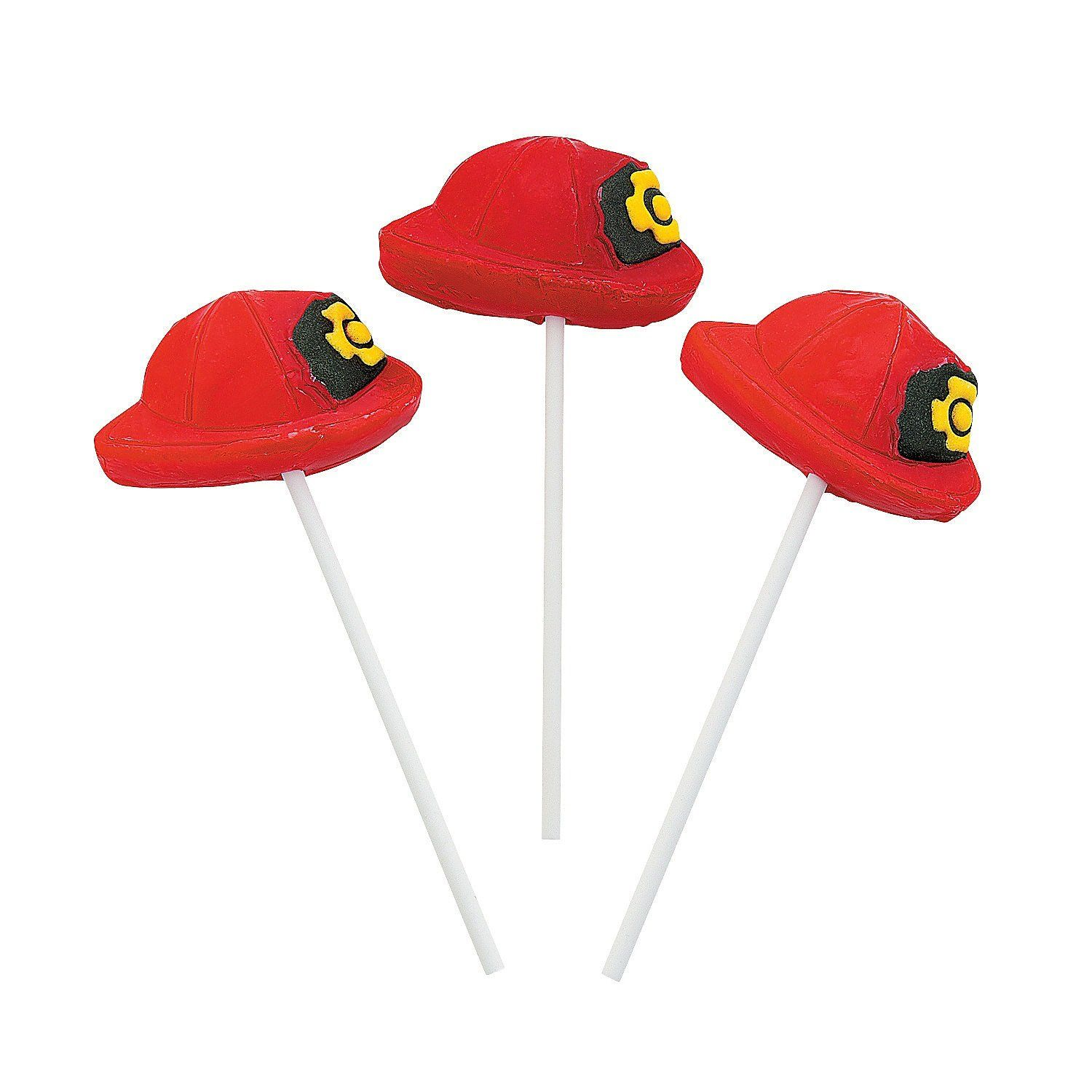 Set of 12 FIREFIGHTER HAT SHAPED CHARACTER SUCKERS LOLLIPOPS ... e8db1121afbc