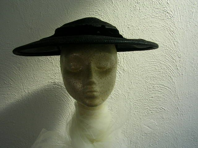 6cf3025172a 1950s charcoal wide brim with black velvet ribbon.