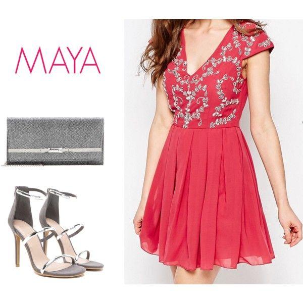 Vestido con adornos en la parte superior de Maya. Talla: 38 Color: Malva.