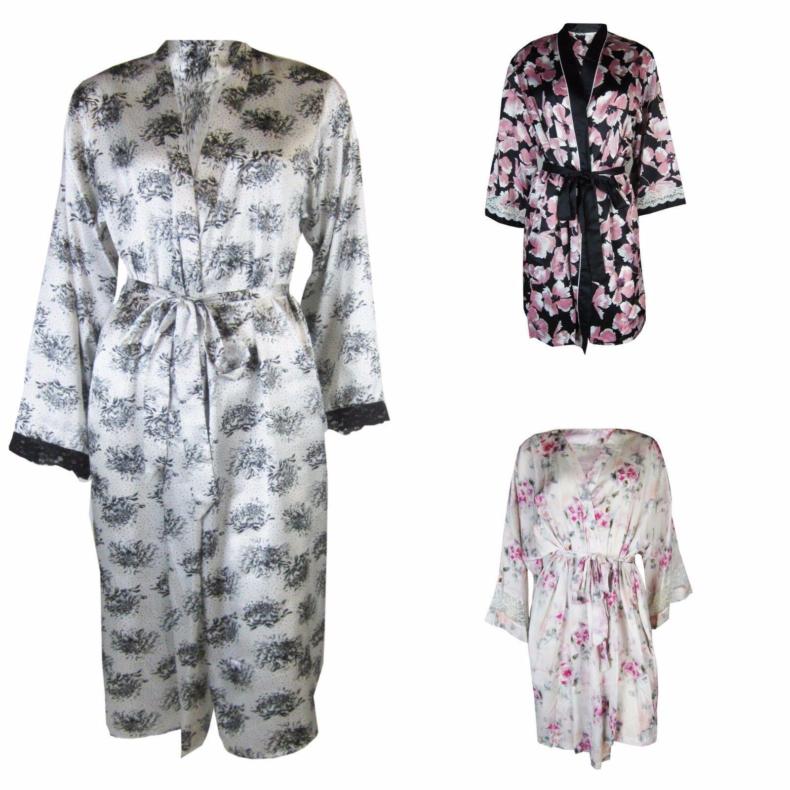 New Ladies Ex - M&S Luxury Satin Floral Kimono Dressing Gown Robe ...