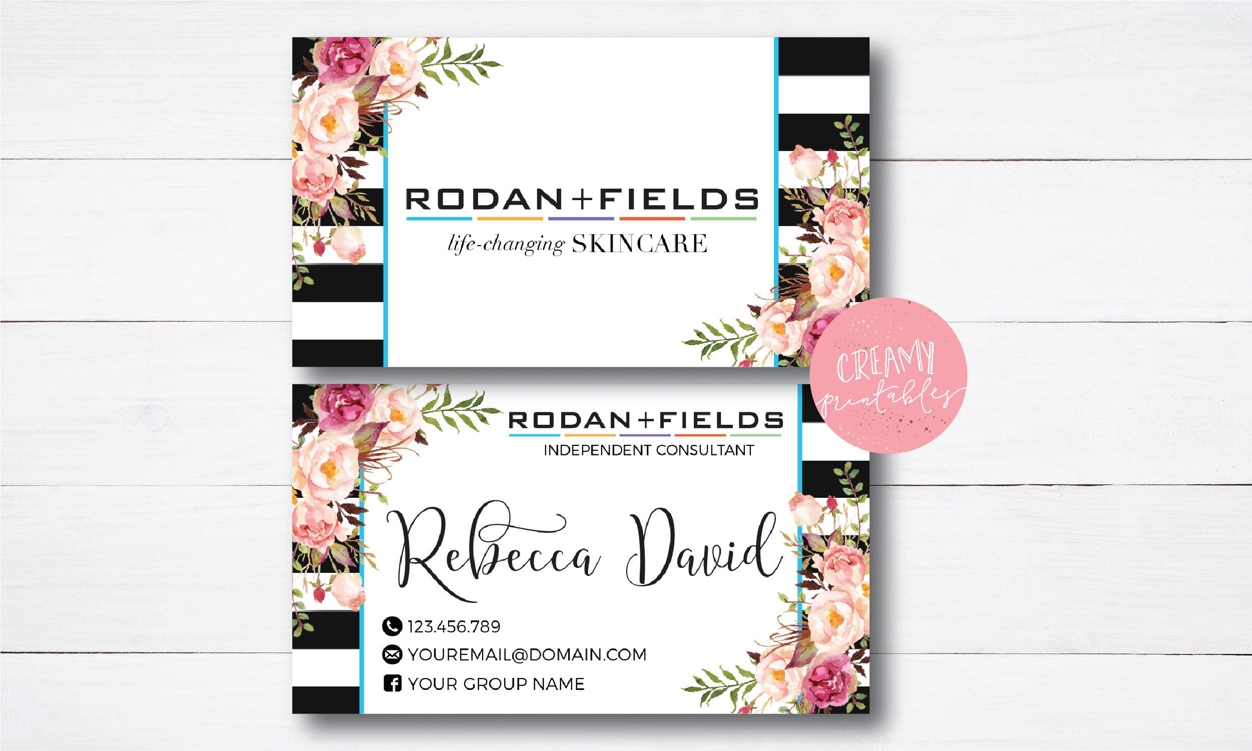 Floral|Stripe|Business Card|RF Facial|Rodan and Fields Business ...