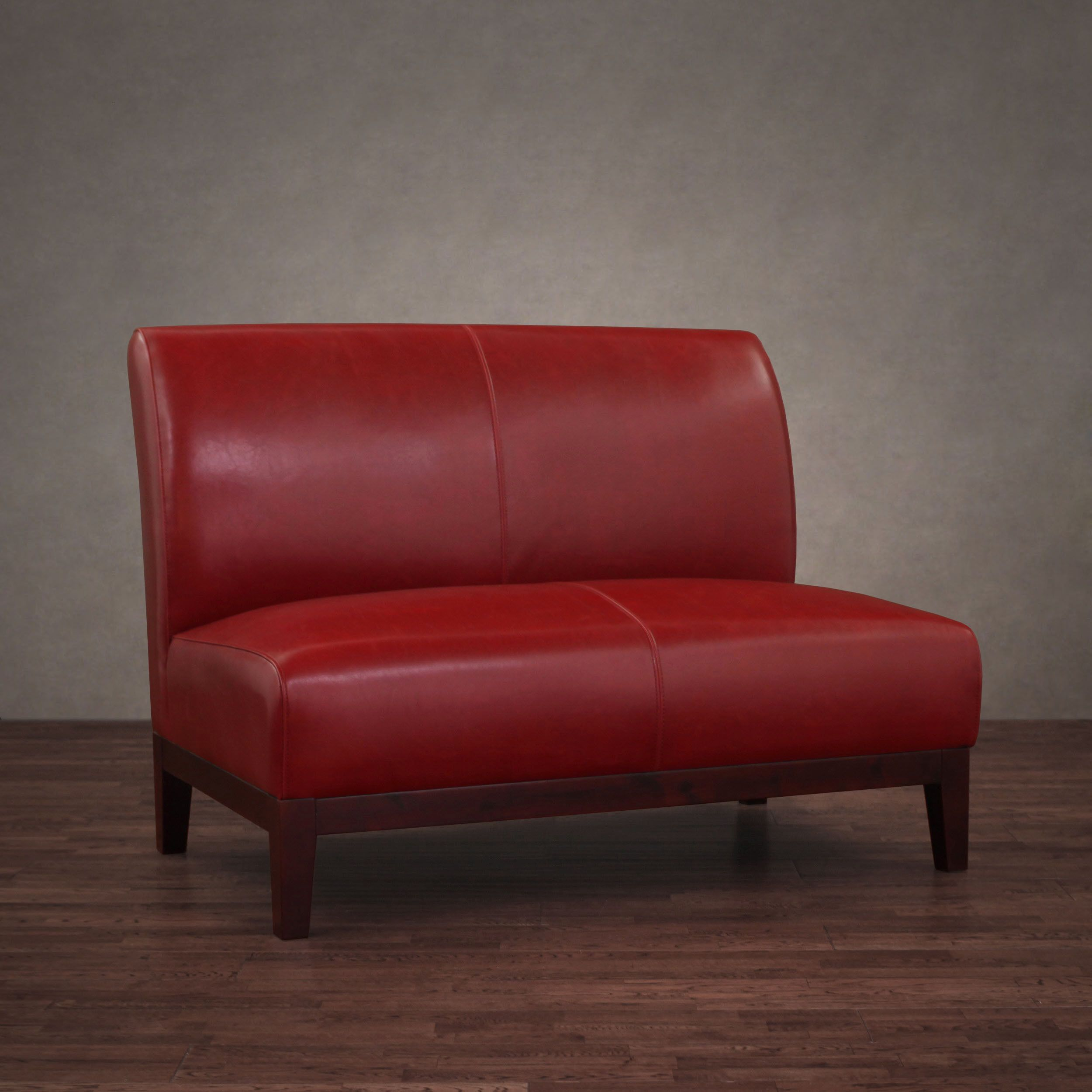 Sleek And Modern This Stunning Burnt Red Leather Loveseat