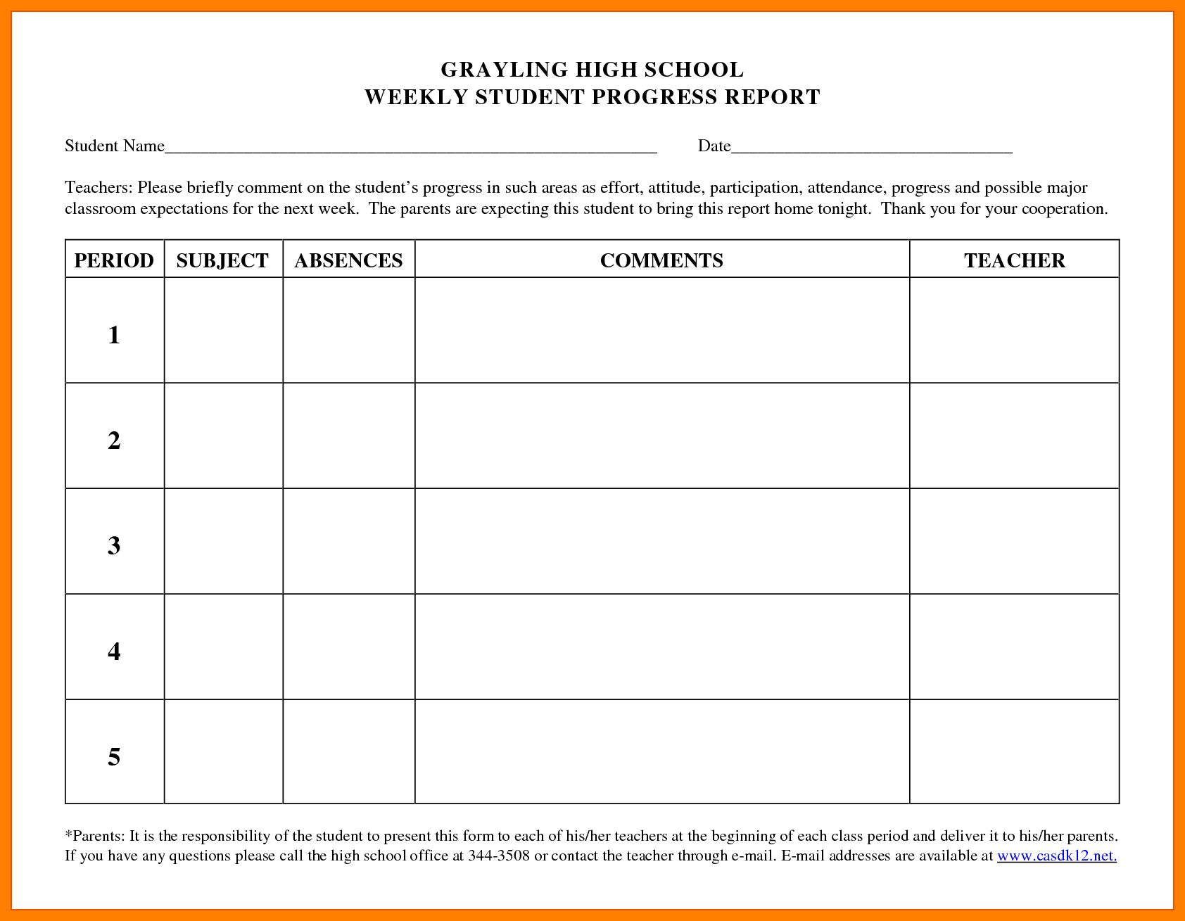 006 Student Progress Report Template Templates Sample In Student