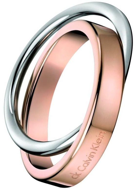 d199a49333a CALVIN KLEIN CK COIL TWO TONE RING £55.00 Stylish Calvin Klein Two Tone  Coil Ring with a dual interlocking design in stainless steel and rose gold.