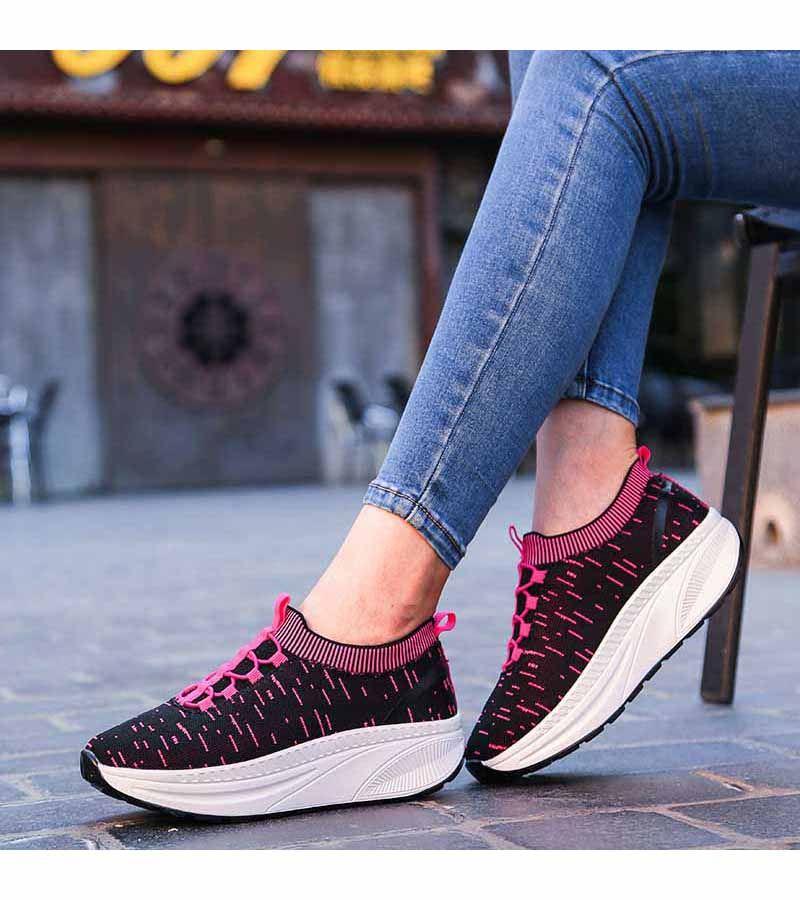 Women S Pink Slip On Rocker Bottom Sole Shoe Sneakers Stripe Pattern Design Casual Leisure Walking Occasions Rocker Bottom Shoes Shape Up Shoes Sneakers