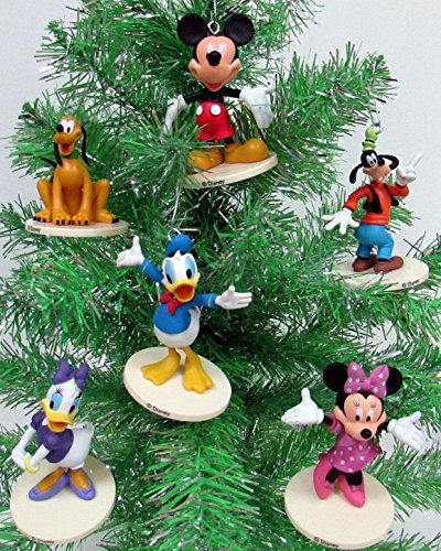 Disney Mickey And Friends Holiday 6pc Custom Christmas Ornament Set New