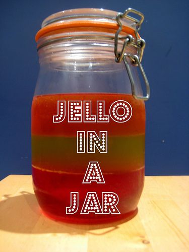 Jelly/ jello in a jar: love the stripes! Fun for a picnic party (other great party food ideas on the post too)