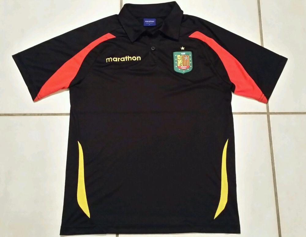 Rare MARATHON Deportivo Cuenca Ecuador Soccer Polo Shirt Men s Large   Marathon  DeportivoCuenca e8e32e89e