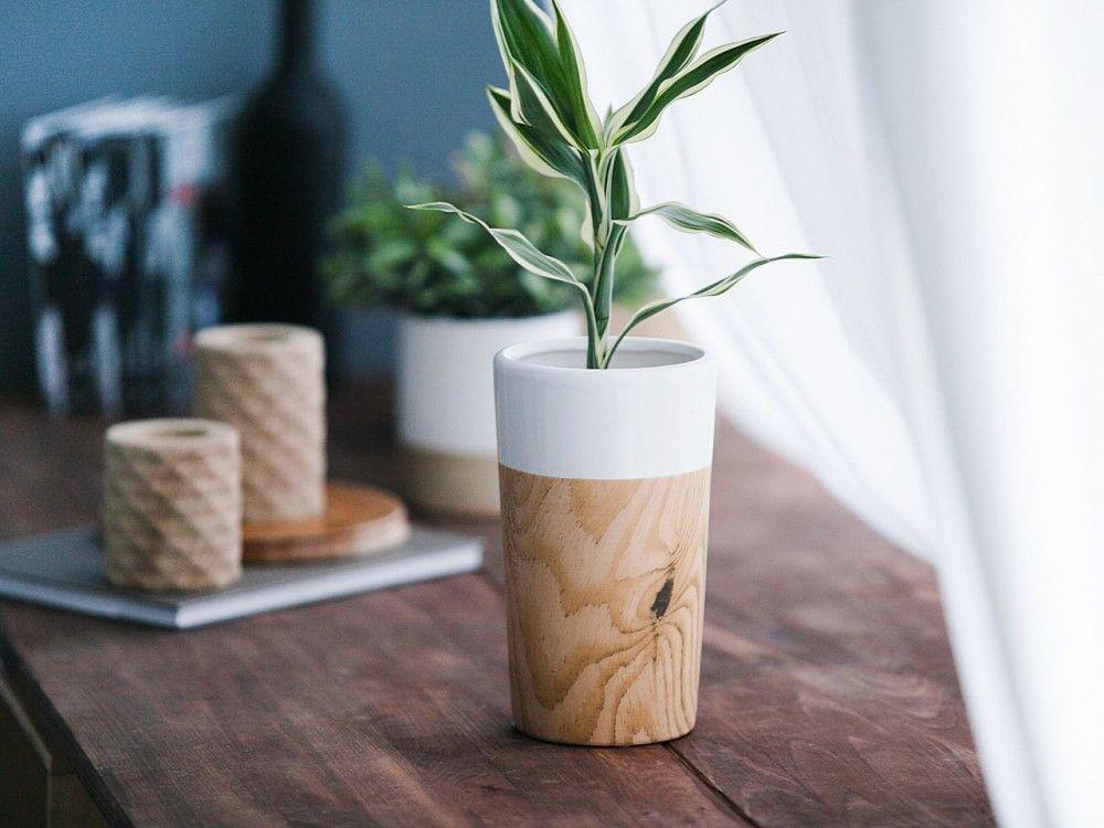 Wazon Porcelanowy Stożek Altom Design Dekoracja Drewno 205