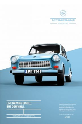 Trabant 601  Pure driving Posters is part of Graphic design posters, Institute of design, Advertising design, Poster design, Ad design, Grafik design - I love how these posters are a beautiful union of graphic design, photography and typography  A brilliant piece of work by the Institute of Design, Düsseldorf, Germany