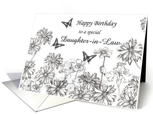 Birthday daughter in law black white flowers butterflies greeting birthday daughter in law black white flowers butterflies greeting card m4hsunfo