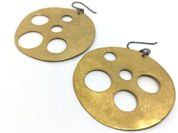 READY-TO-SHIP  Add some gold color to your earrings with this large but oh so lightweight bronze earrings. Earrings measure approximately2.5 diameter. Sterling silver earwires.