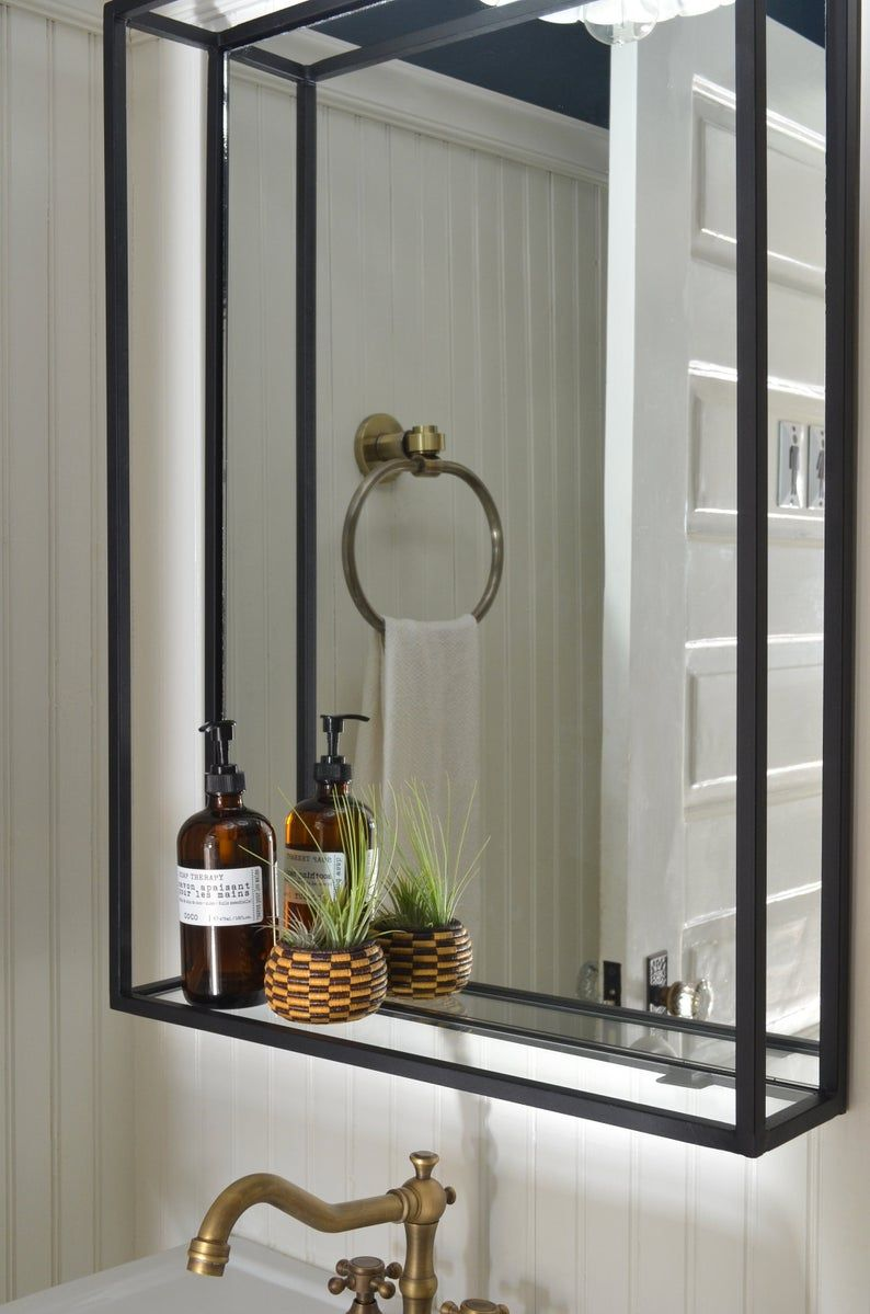 bathroom shelf mirror modern industrial black steel on custom bathroom vanity mirrors id=90031