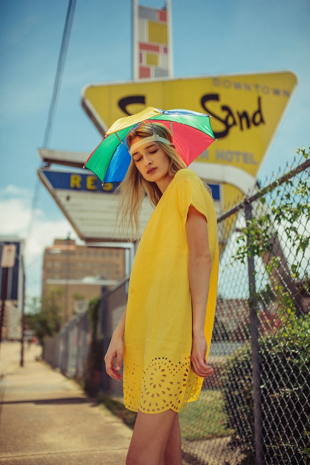 35cccaf6fdbed High Fashion Model Umbrella hat Photoshoot    Canon 5D Mark III Sigma Art  35mm 1.4 lens Yellow Dress by  RomWE Sun   Sand Motel   Restaurant