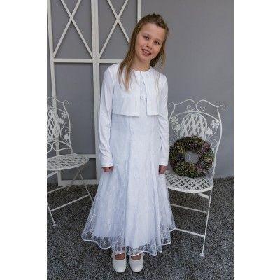 weißes Kommunionkleid, 3/4-Länge, 2-tlg. | Kleid mit ärmel ...