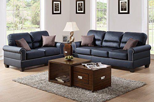 Poundex F7877 Bobkona Shelton Bonded Leather 2 Piece Sofa and Loveseat Set, Black Poundex