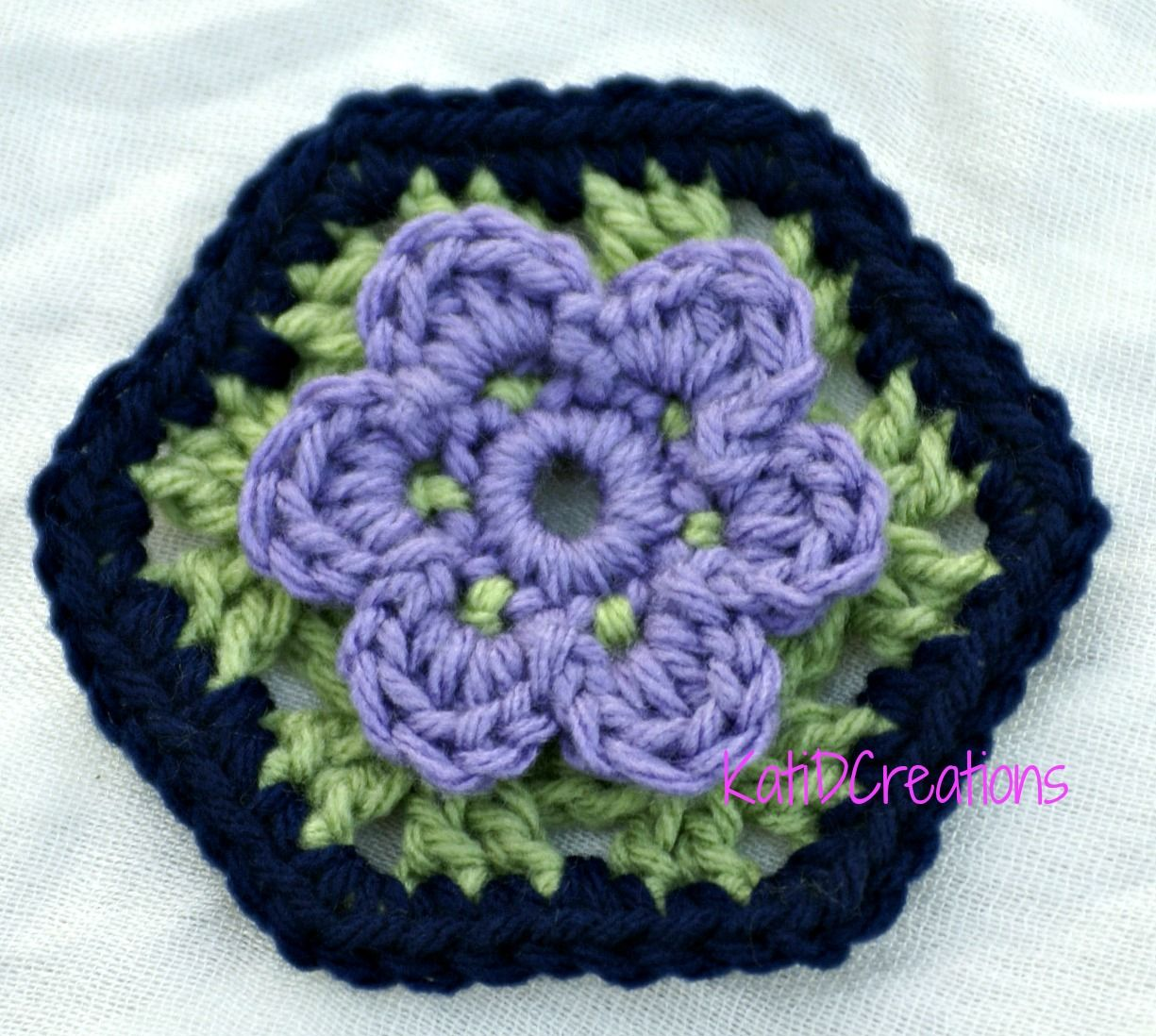 Water Lily Hexagon Granny Square by Katid Creations | CrochetHolic ...