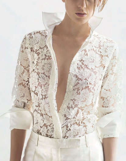 Valentino white lace (Marie Claire France, January 2013) I would wear with a camisole obvi! But I love the lace; love the white on white