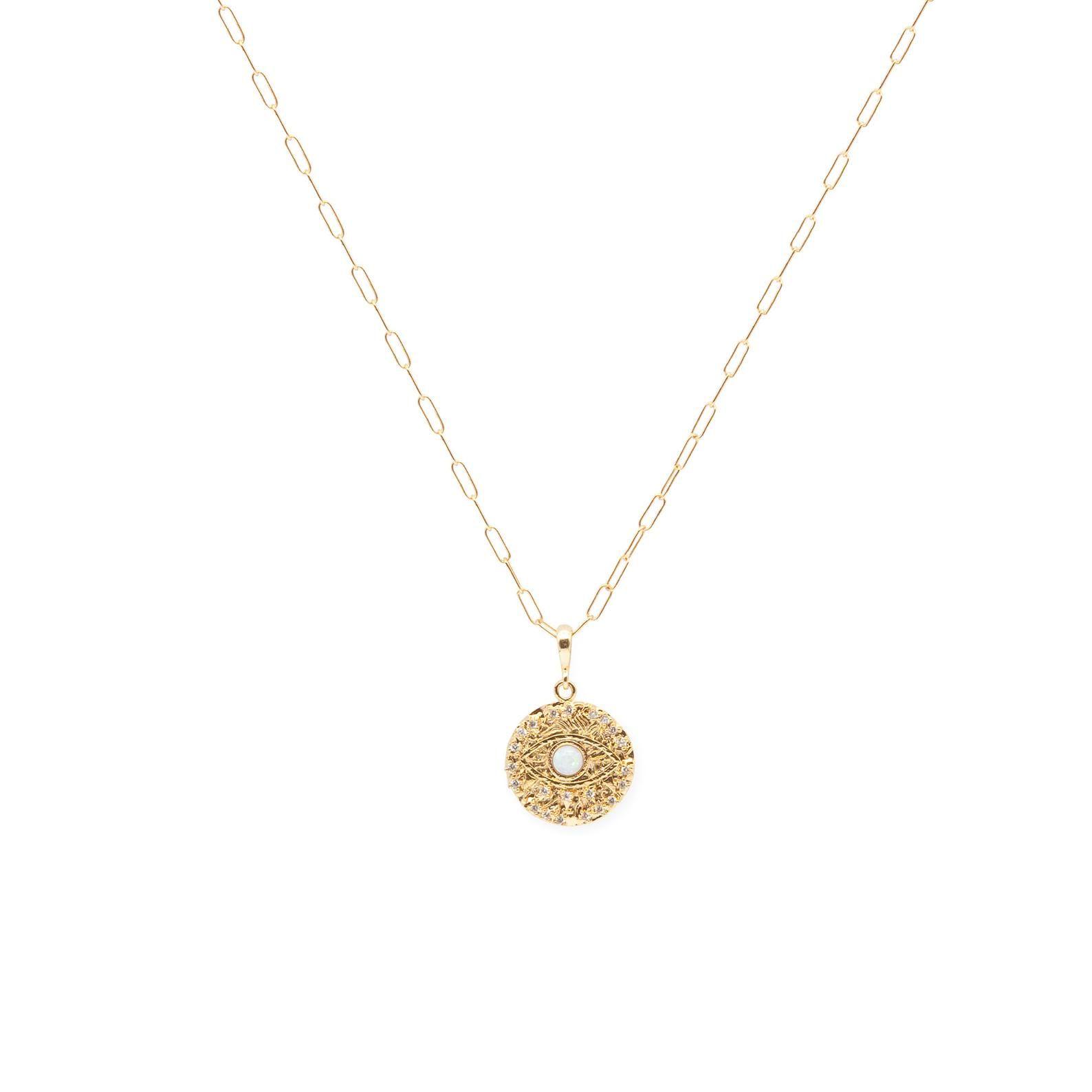 Opal Evil Eye Necklace, Gold, Coin Charm, Shimmeri