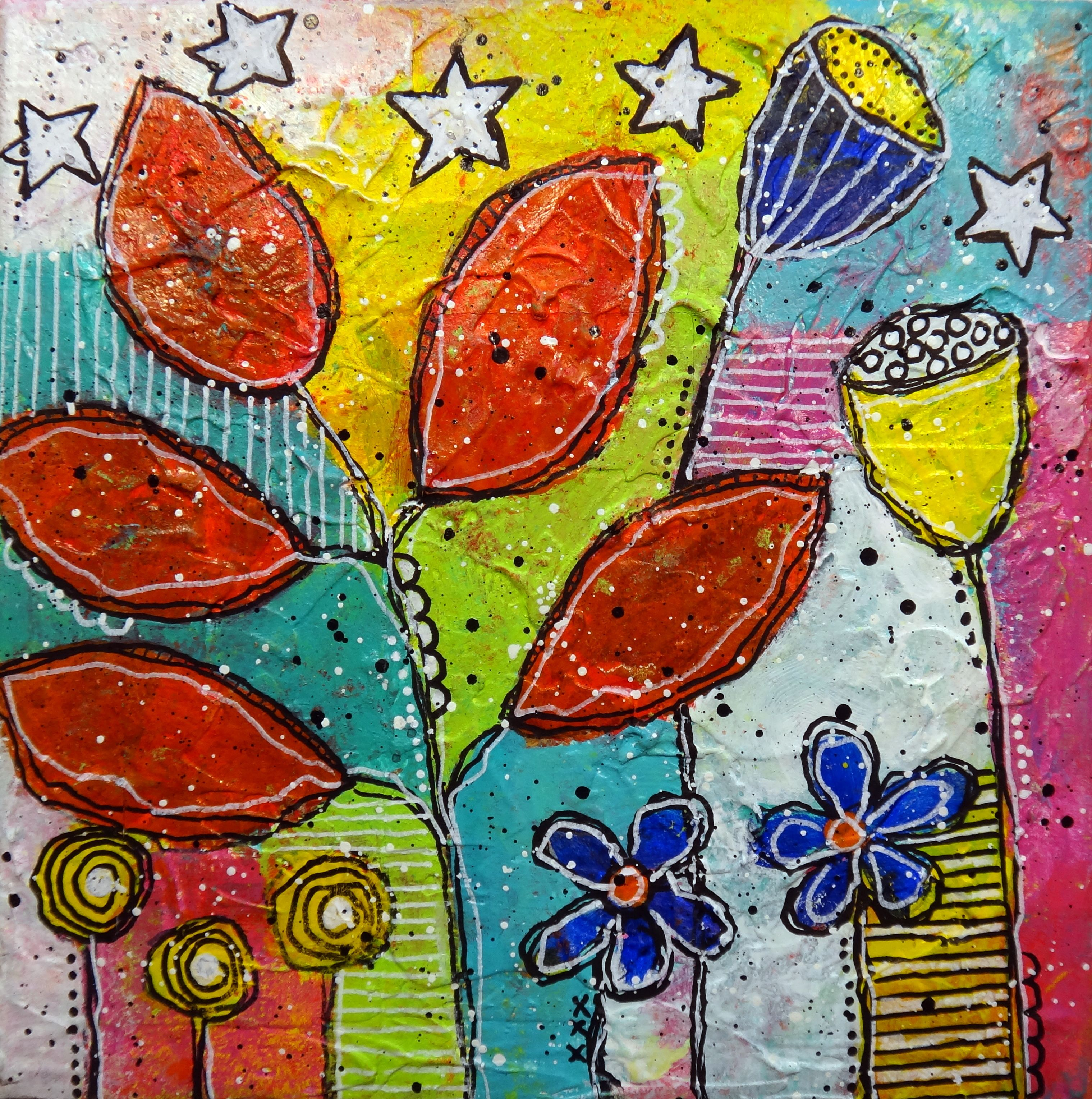 Acrylics Poster Paint Pens Mixed Media Intuitive Painting