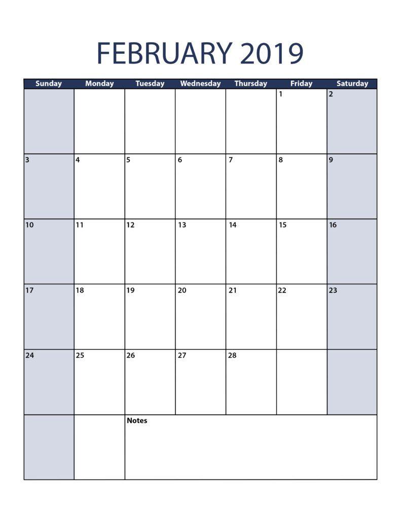Full Size Printable February Calendar 2019 February 2019 Calendar A4 Size   February 2019 Calendar Printable