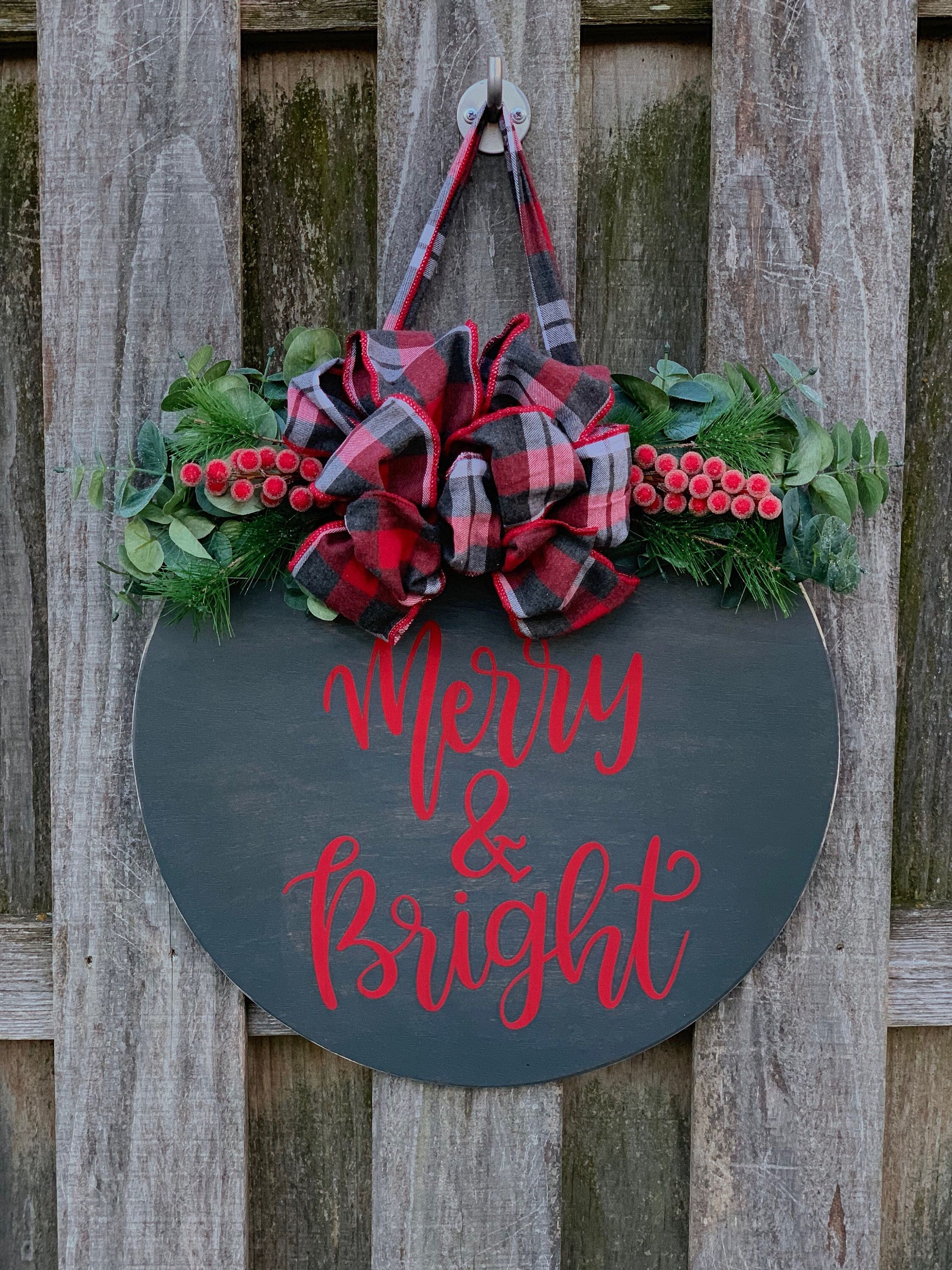 Merry and Bright sign round, Christmas front door sign, Merry Christmas sign, Christmas porch decor, Round Christmas sign – wooden Christmas