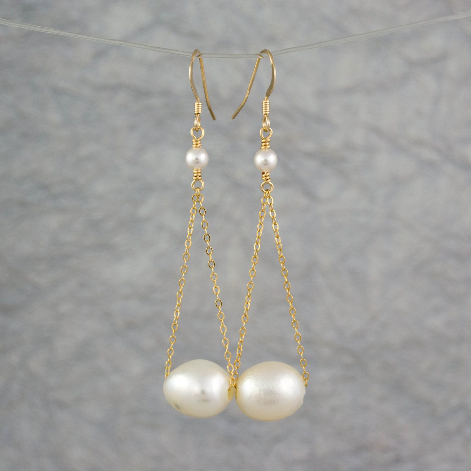Pearl Dangle Earrings, Gold Pearl Earrings, Freshwater Pearl Earrings, Gold…
