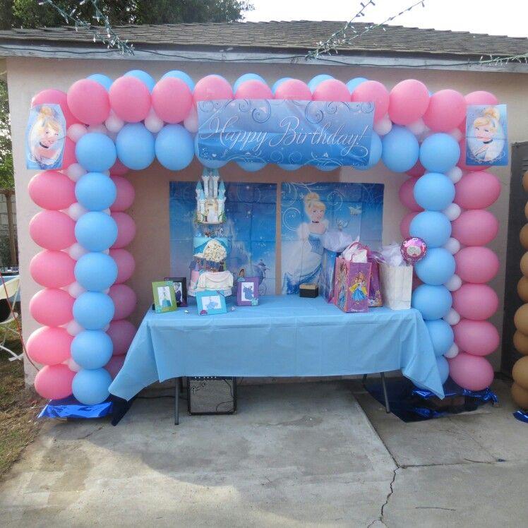 Balloon Set Up For A Cinderella Birthday Party