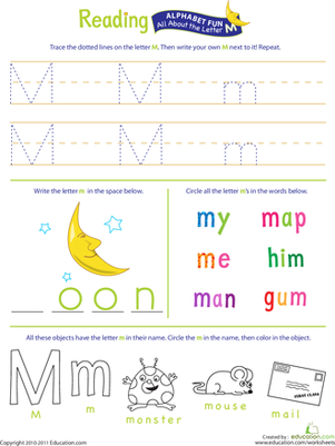 Get Ready for Reading: All About the Letter M Worksheet @Education.com (Also search other worksheets)