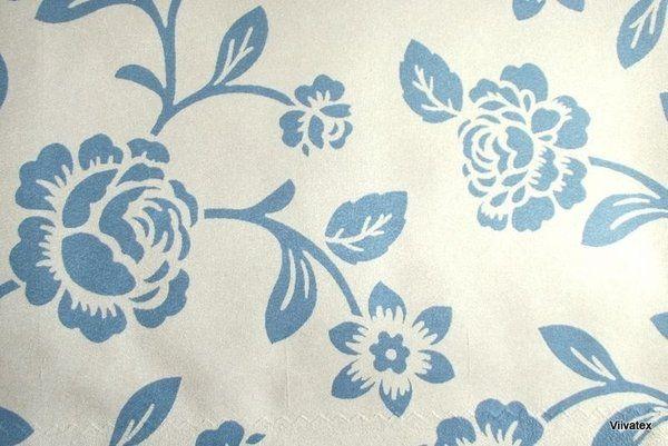 Tecido Suede Rosas Azul - Taiti 15