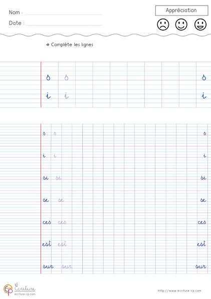 Haut Feuille Fiche PDF Exercice d'écriture cursive cp à imprimer  FX58