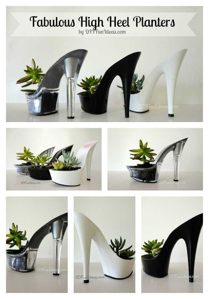 Give succulents the glam treatment with these platform shoe planters.