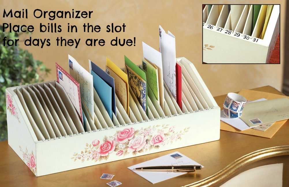 Day Wooden Mail Letter  Bill Organizer  Helpful Solutions