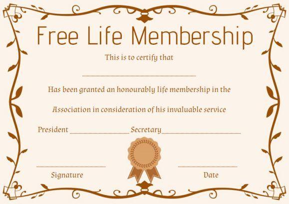 Free Life Membership Certificate Template Free Membership