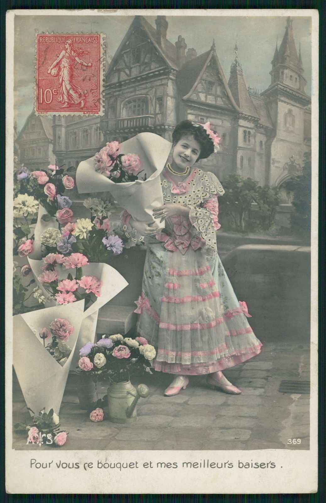 Edwardian Lady Flower Seller Postcard, Photo postcards