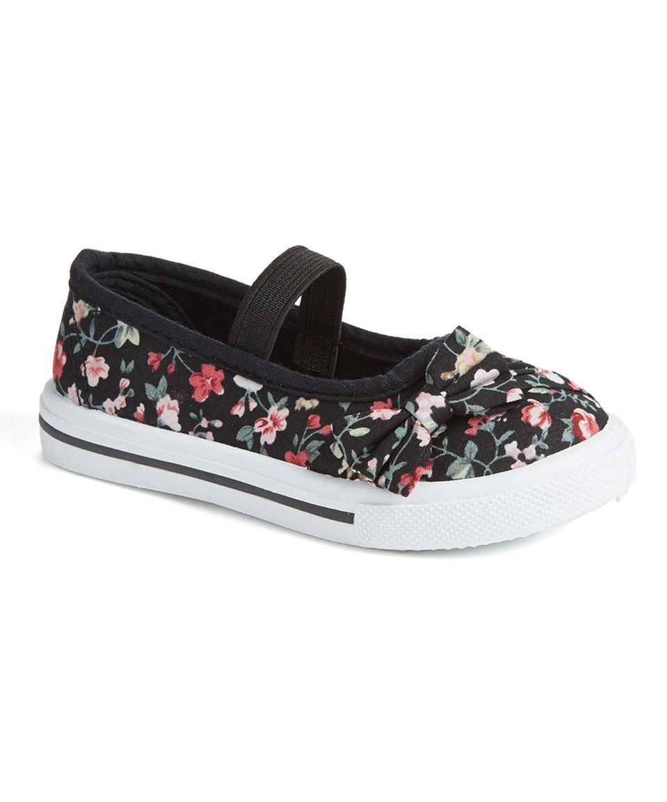 Look at this #zulilyfind! Ositos Shoes Black & White Floral Asymmetrical Bow Elastic-Strap Sneaker by Ositos Shoes #zulilyfinds