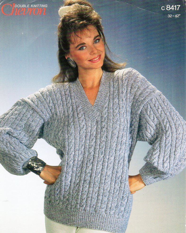 fd2530fc85d49e womens cable sweater knitting pattern pdf ladies v neck cable jumper 32-42
