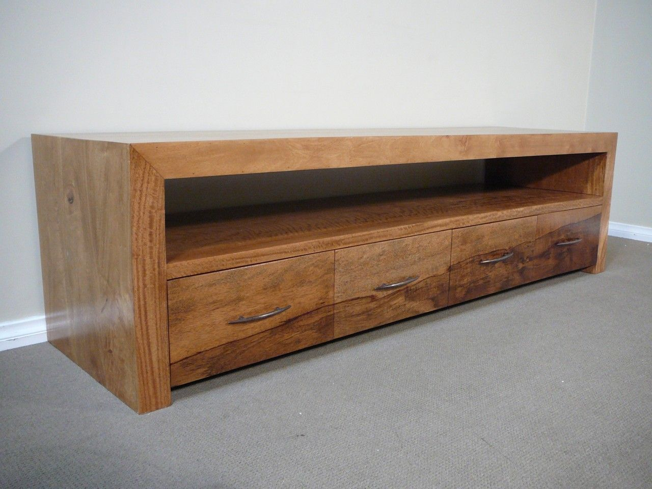 Mango Wood Tv Entertainment Unit Lowline Low Line Sleek